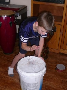 Testing out a fabulous homemade drum
